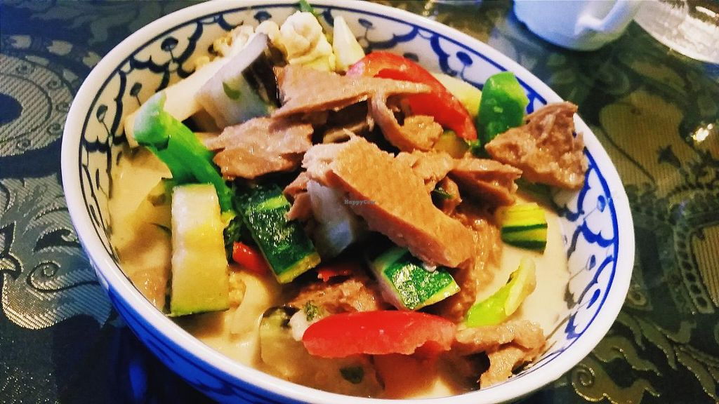 """Photo of Thai Thai  by <a href=""""/members/profile/helsinkigoesvegan"""">helsinkigoesvegan</a> <br/>Seitan Green Curry <br/> January 14, 2015  - <a href='/contact/abuse/image/52888/90357'>Report</a>"""