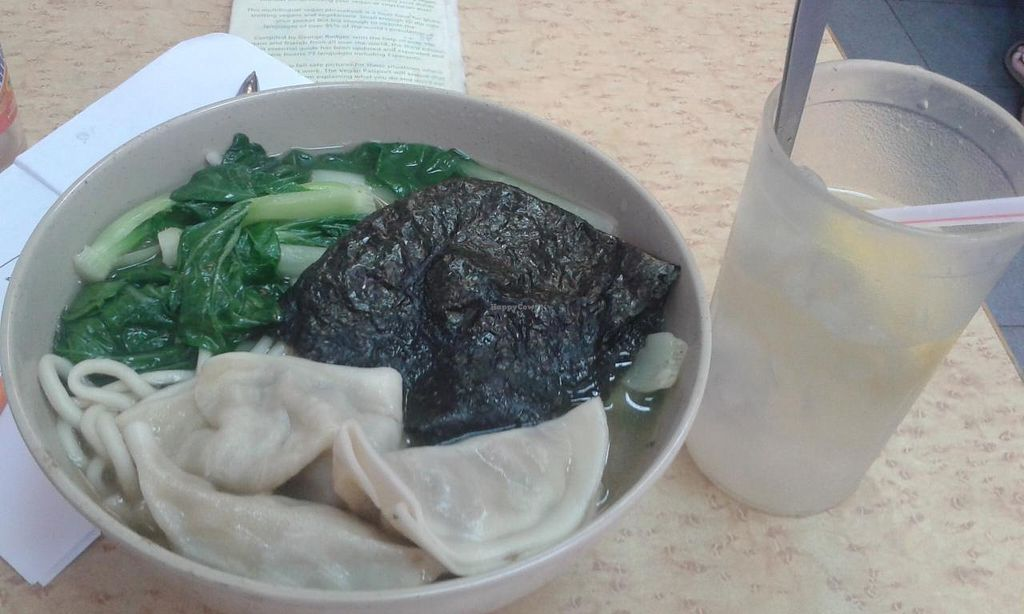 """Photo of Fok Hing Food Shop  by <a href=""""/members/profile/Stevie"""">Stevie</a> <br/>Noodle soup with sea vegetables and dumplings <br/> June 2, 2015  - <a href='/contact/abuse/image/52914/104494'>Report</a>"""