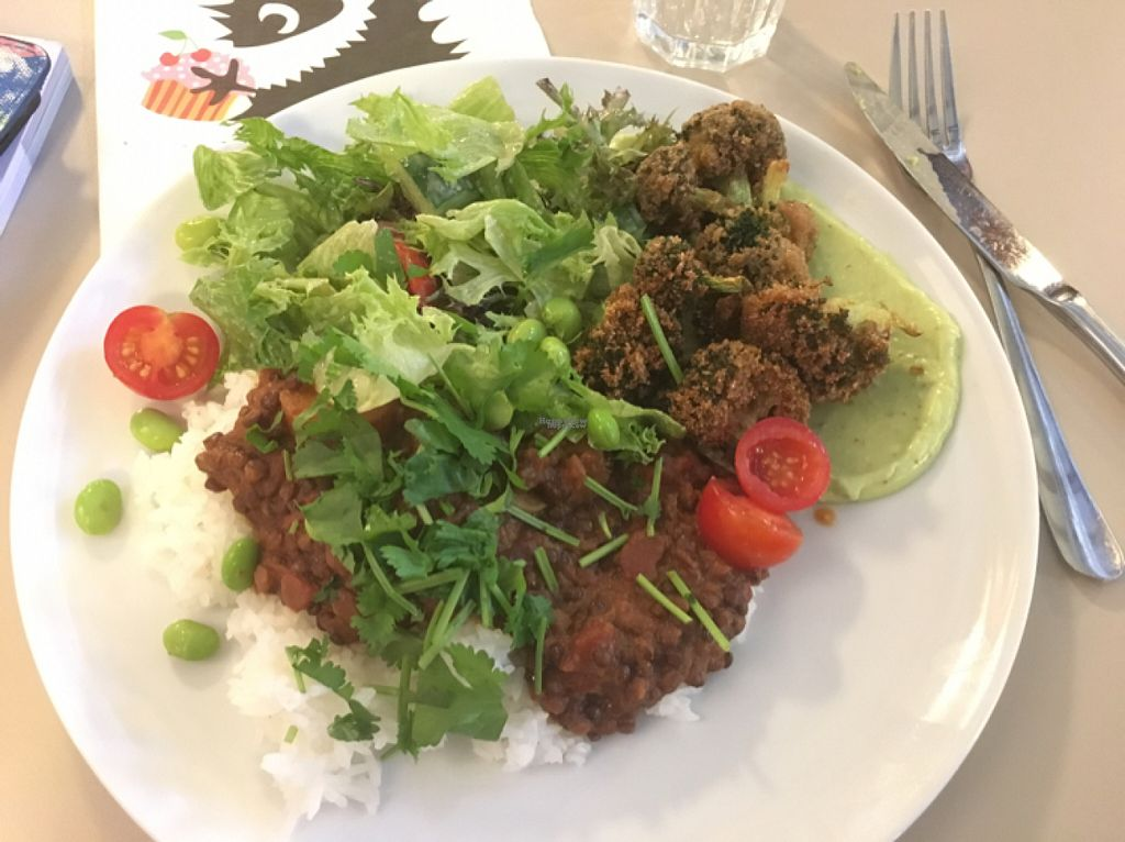 """Photo of Roots Kitchen  by <a href=""""/members/profile/Windlekins"""">Windlekins</a> <br/>lentil curry, rice, salad and broccoli of the gods!  <br/> August 3, 2016  - <a href='/contact/abuse/image/52926/164952'>Report</a>"""
