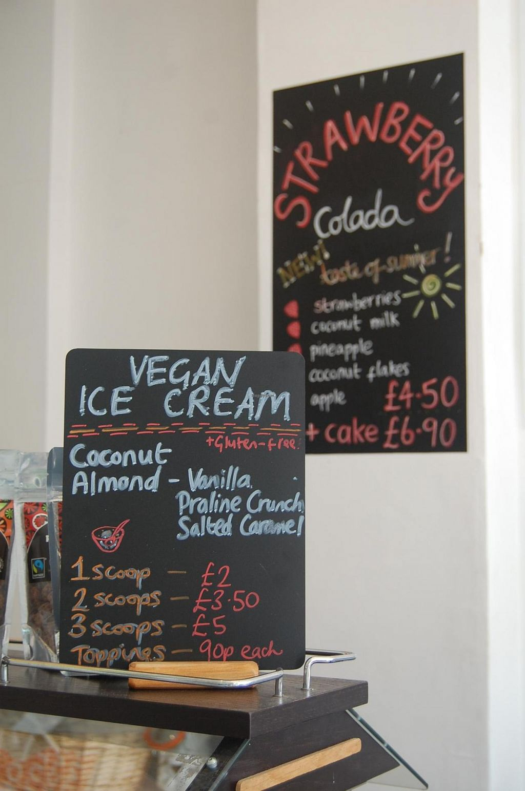 """Photo of Spa Juice Bar - Greenwich  by <a href=""""/members/profile/Clare"""">Clare</a> <br/>Vegan Ice-cream and shakes menu <br/> June 18, 2015  - <a href='/contact/abuse/image/52958/106412'>Report</a>"""