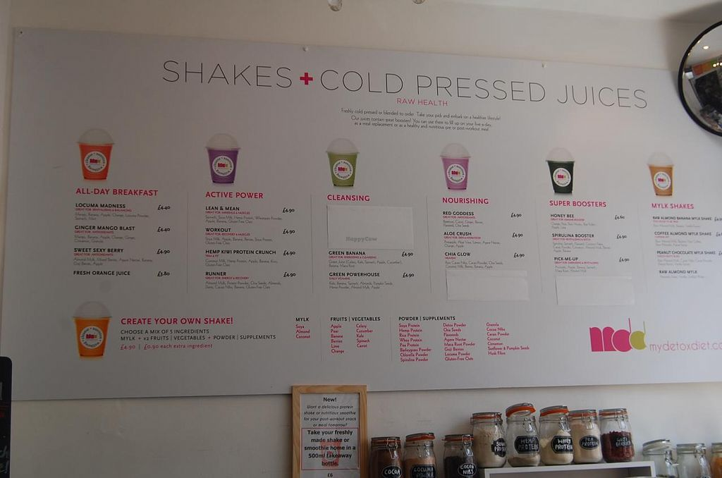 """Photo of Spa Juice Bar - Greenwich  by <a href=""""/members/profile/Clare"""">Clare</a> <br/>Shakes and Cold pressed Juice Menu <br/> June 18, 2015  - <a href='/contact/abuse/image/52958/106414'>Report</a>"""