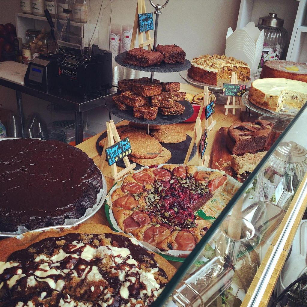 """Photo of Spa Juice Bar - Greenwich  by <a href=""""/members/profile/bethany_m"""">bethany_m</a> <br/>Wide selection of vegan and gluten-free cakes. The Banoffee cake is completely amazing!  <br/> November 20, 2014  - <a href='/contact/abuse/image/52958/86058'>Report</a>"""