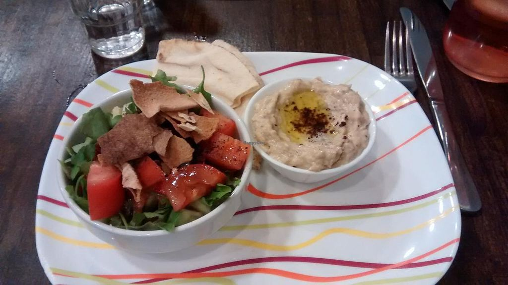 """Photo of O'Saj  by <a href=""""/members/profile/JonJon"""">JonJon</a> <br/>Fattouch salad and moutabal <br/> November 24, 2014  - <a href='/contact/abuse/image/52971/86380'>Report</a>"""