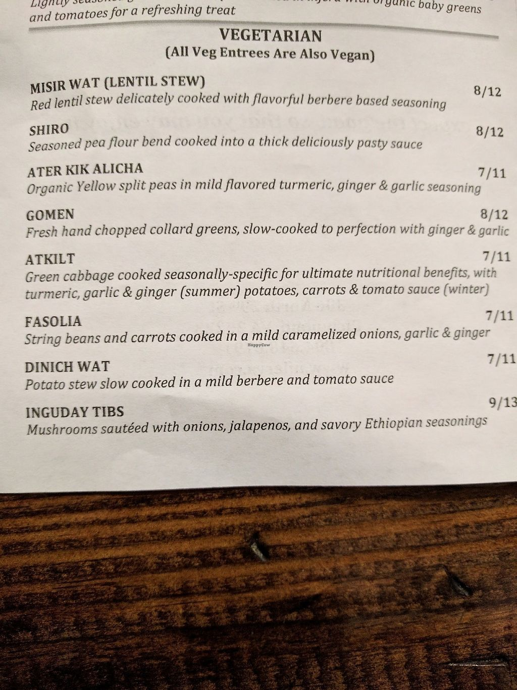 "Photo of Nile Ethiopian Restaurant  by <a href=""/members/profile/JohnGardner"">JohnGardner</a> <br/>Veg portion of the menu <br/> May 5, 2017  - <a href='/contact/abuse/image/5297/255916'>Report</a>"