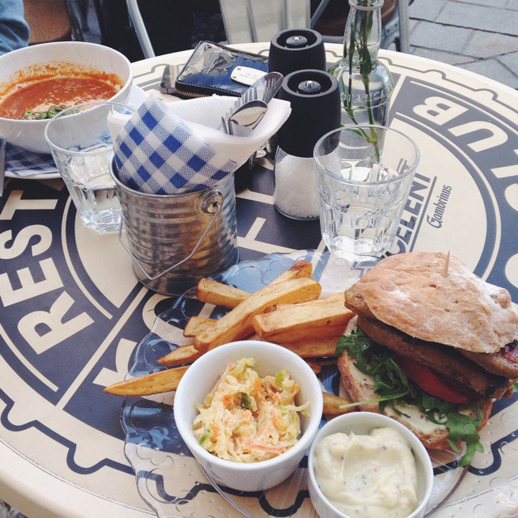 "Photo of Refresh Restaurant - Re Fresh  by <a href=""/members/profile/kristinarollo"">kristinarollo</a> <br/>vegan burger and a vegan soup <br/> June 20, 2016  - <a href='/contact/abuse/image/53012/155072'>Report</a>"