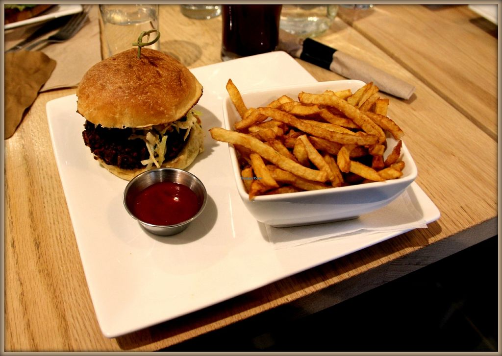 """Photo of Pure Kitchen - Richmond Rd  by <a href=""""/members/profile/GypsyGreenstone"""">GypsyGreenstone</a> <br/>mushroom burger and fries <br/> June 14, 2016  - <a href='/contact/abuse/image/53042/153854'>Report</a>"""