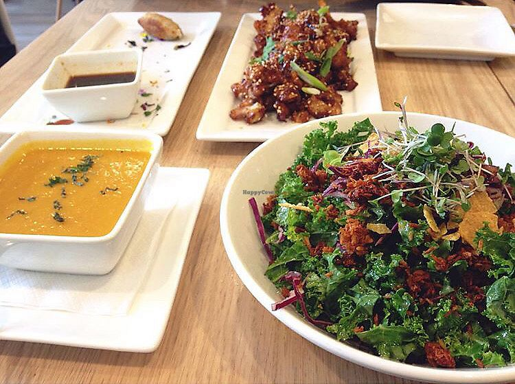 """Photo of Pure Kitchen - Richmond Rd  by <a href=""""/members/profile/hayls04"""">hayls04</a> <br/>Soup of the day, """"transformed"""" kale salad, cauliflower wings <br/> September 12, 2017  - <a href='/contact/abuse/image/53042/303567'>Report</a>"""