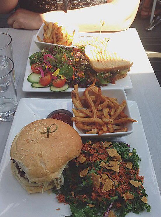 """Photo of Pure Kitchen - Richmond Rd  by <a href=""""/members/profile/hayls04"""">hayls04</a> <br/>Vegan burger with """"a little of both""""  <br/> September 12, 2017  - <a href='/contact/abuse/image/53042/303568'>Report</a>"""