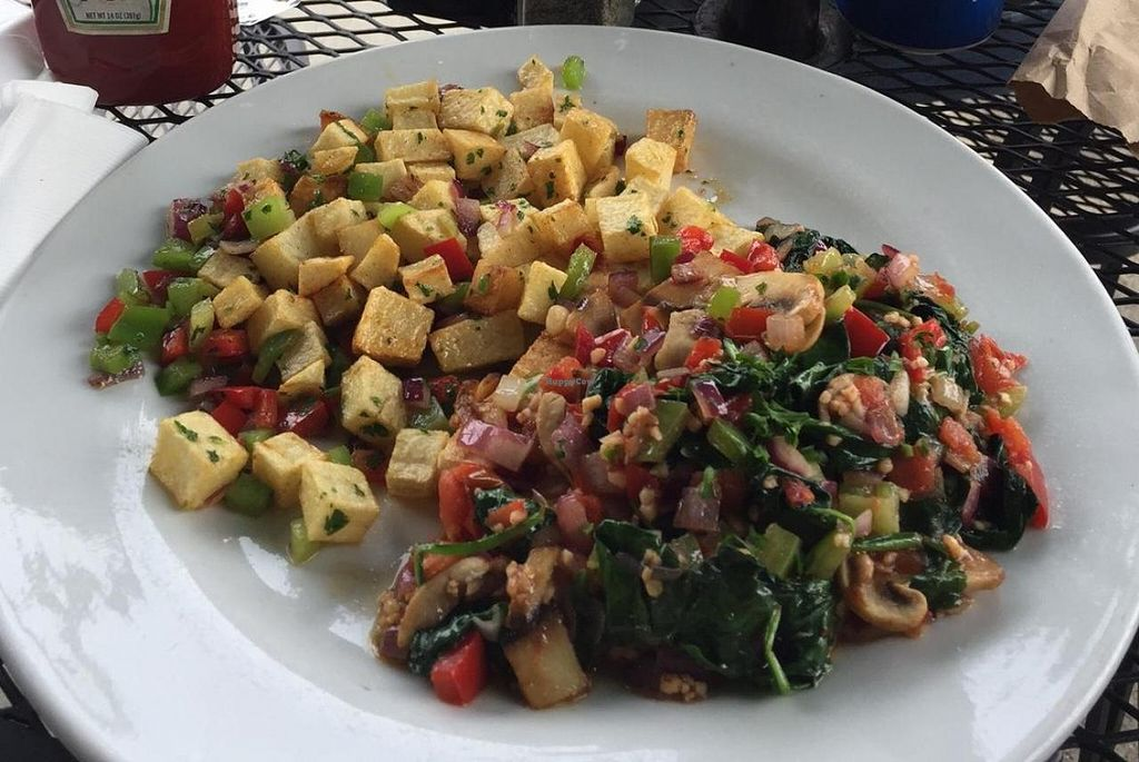 "Photo of V Boulevard Cafe  by <a href=""/members/profile/ACBuhay"">ACBuhay</a> <br/>Vegan Breakfast. Was delish! Choice of side, i got the country potatoes, and underneath that mesh of spinach and peppers and mushrooms, there was tofu. 