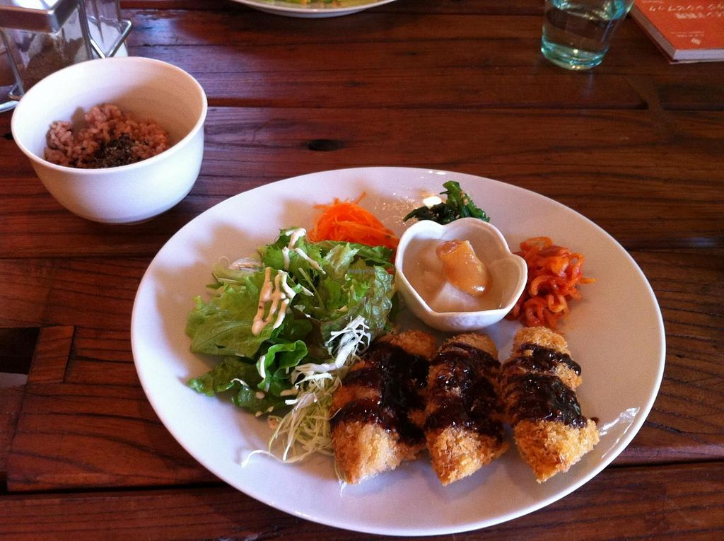 """Photo of Cafe Sora  by <a href=""""/members/profile/Inoshishi"""">Inoshishi</a> <br/>Kurumafu plate - served with brown rice and miso soup (all vegan)  <br/> November 16, 2014  - <a href='/contact/abuse/image/53136/85863'>Report</a>"""