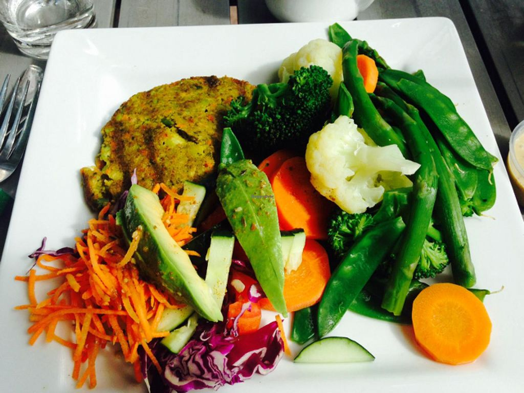"""Photo of Juice and Java  by <a href=""""/members/profile/jkperez4"""">jkperez4</a> <br/>steamed vegetable platter with veggie burger  <br/> March 14, 2015  - <a href='/contact/abuse/image/5314/95727'>Report</a>"""