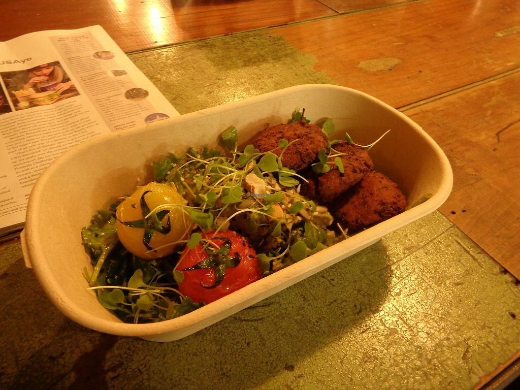 """Photo of Misters  by <a href=""""/members/profile/citizenInsane"""">citizenInsane</a> <br/>salad with falafel-sort of patties <br/> July 28, 2017  - <a href='/contact/abuse/image/53186/285755'>Report</a>"""