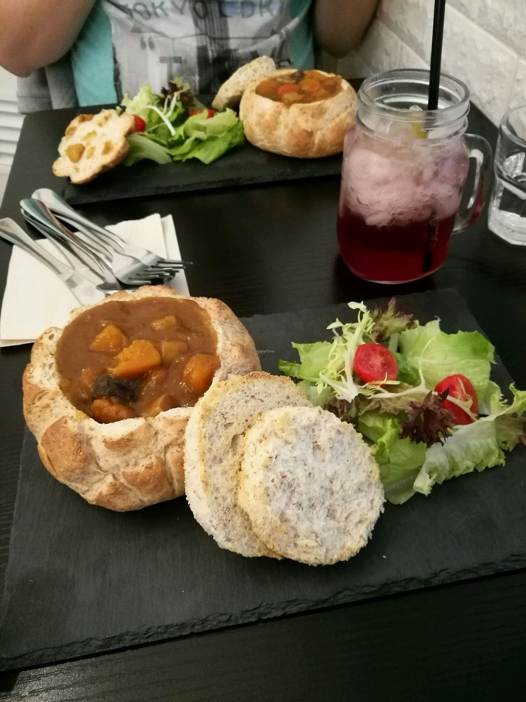 """Photo of Veggie Macau  by <a href=""""/members/profile/SarahHartland"""">SarahHartland</a> <br/>Japanese curry in a bread bowl vegan <br/> March 10, 2018  - <a href='/contact/abuse/image/53199/368833'>Report</a>"""