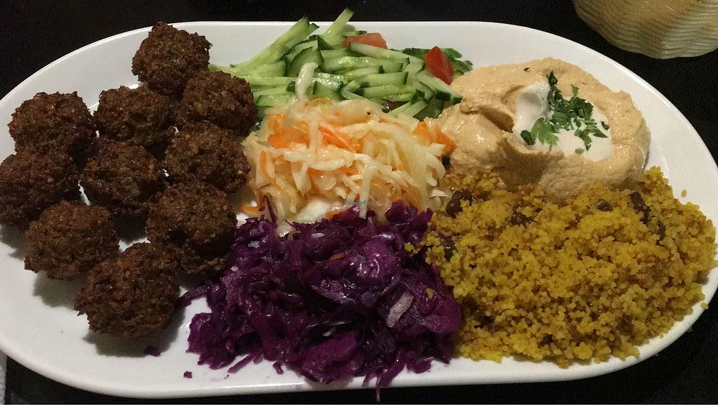"""Photo of Olive Tree Hummus Express  by <a href=""""/members/profile/ellealexa"""">ellealexa</a> <br/>Premium Falafel Plate <br/> April 16, 2018  - <a href='/contact/abuse/image/53229/386767'>Report</a>"""