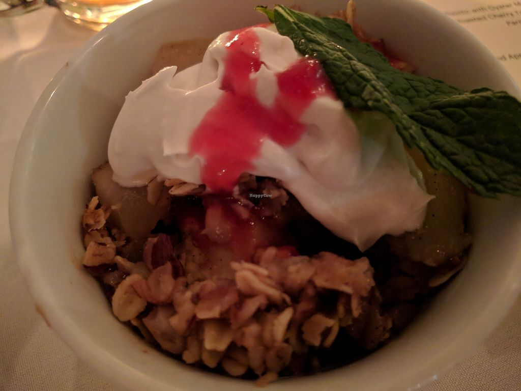 "Photo of Natural Gourmet Institute  by <a href=""/members/profile/steveveg"">steveveg</a> <br/>Dessert - apple crumble with coconut cream <br/> April 7, 2018  - <a href='/contact/abuse/image/53255/381961'>Report</a>"