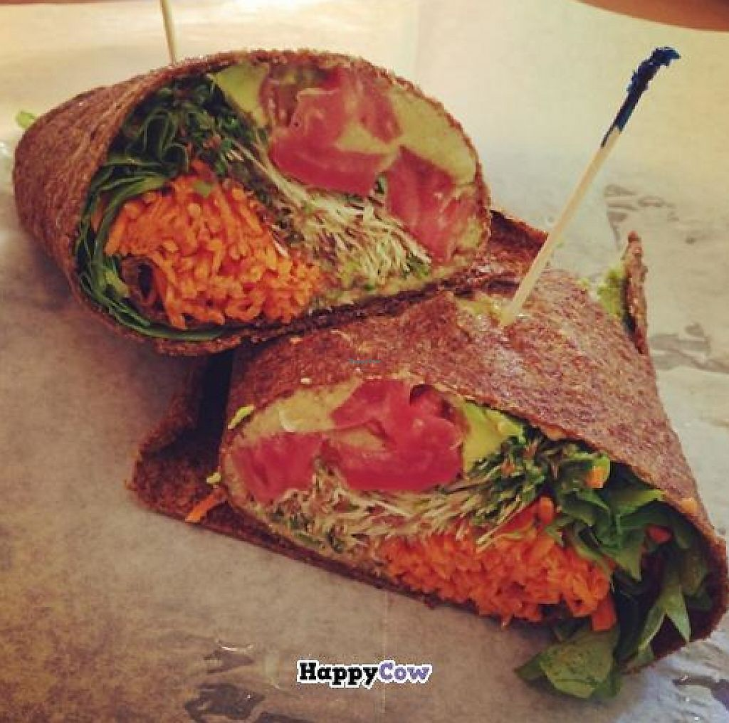 """Photo of Zia's Cafe  by <a href=""""/members/profile/ohemgee"""">ohemgee</a> <br/>RainbowWrap: avocado, sprouts, arugula, tomato,shredded carrots, hummus & balsamic vinaigrette all in a raw wrap! YUM <br/> September 25, 2013  - <a href='/contact/abuse/image/5325/202143'>Report</a>"""