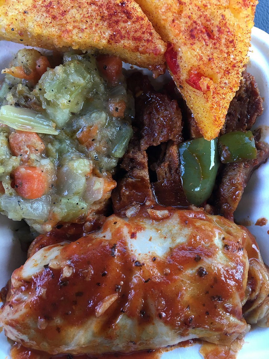 """Photo of Gaia's Garden  by <a href=""""/members/profile/americanwinter"""">americanwinter</a> <br/>Polenta, vegetable pot pie, seitan stir-fry, stuffed cabbage <br/> April 21, 2018  - <a href='/contact/abuse/image/5331/388923'>Report</a>"""