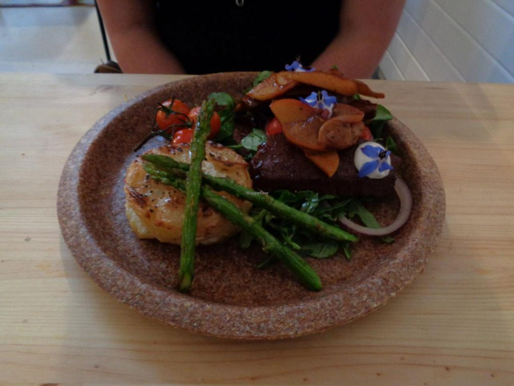 "Photo of Sova Vegan Butcher  by <a href=""/members/profile/Claremveg"">Claremveg</a> <br/>tempeh fillet with potato dauphinois and asparagus  <br/> July 26, 2015  - <a href='/contact/abuse/image/53343/111033'>Report</a>"