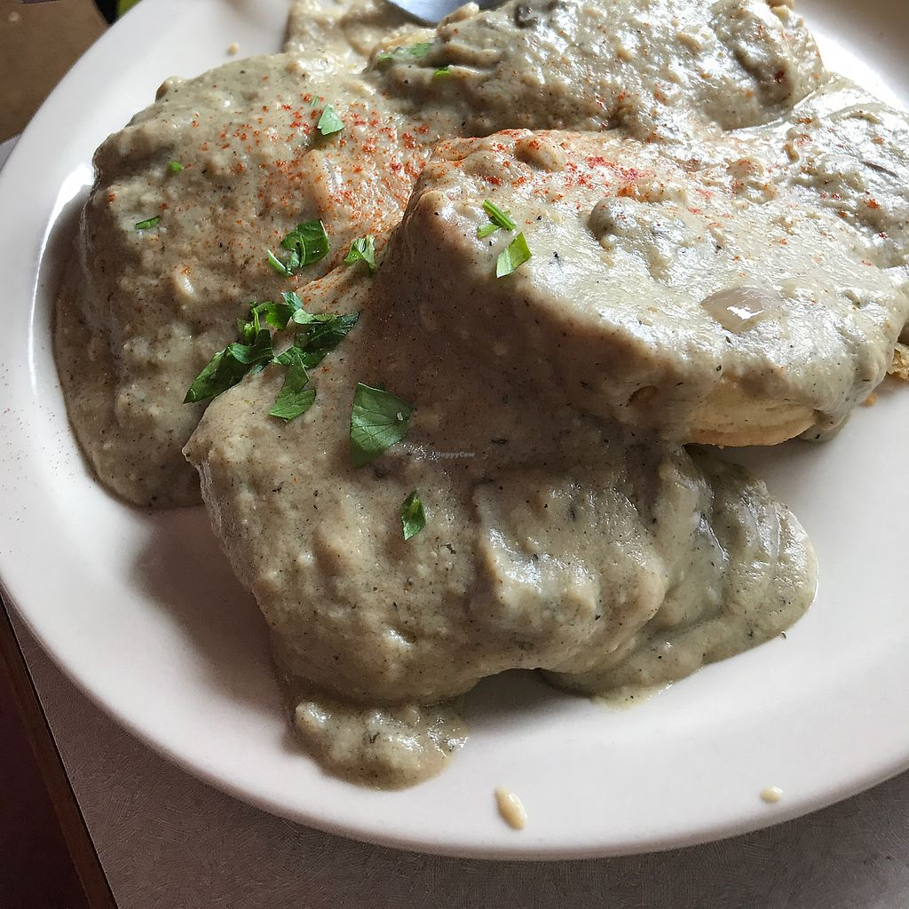 "Photo of New Moon Cooperative Cafe  by <a href=""/members/profile/Raynevegan"">Raynevegan</a> <br/>vegan biscuits and gravy <br/> September 9, 2017  - <a href='/contact/abuse/image/5341/302609'>Report</a>"