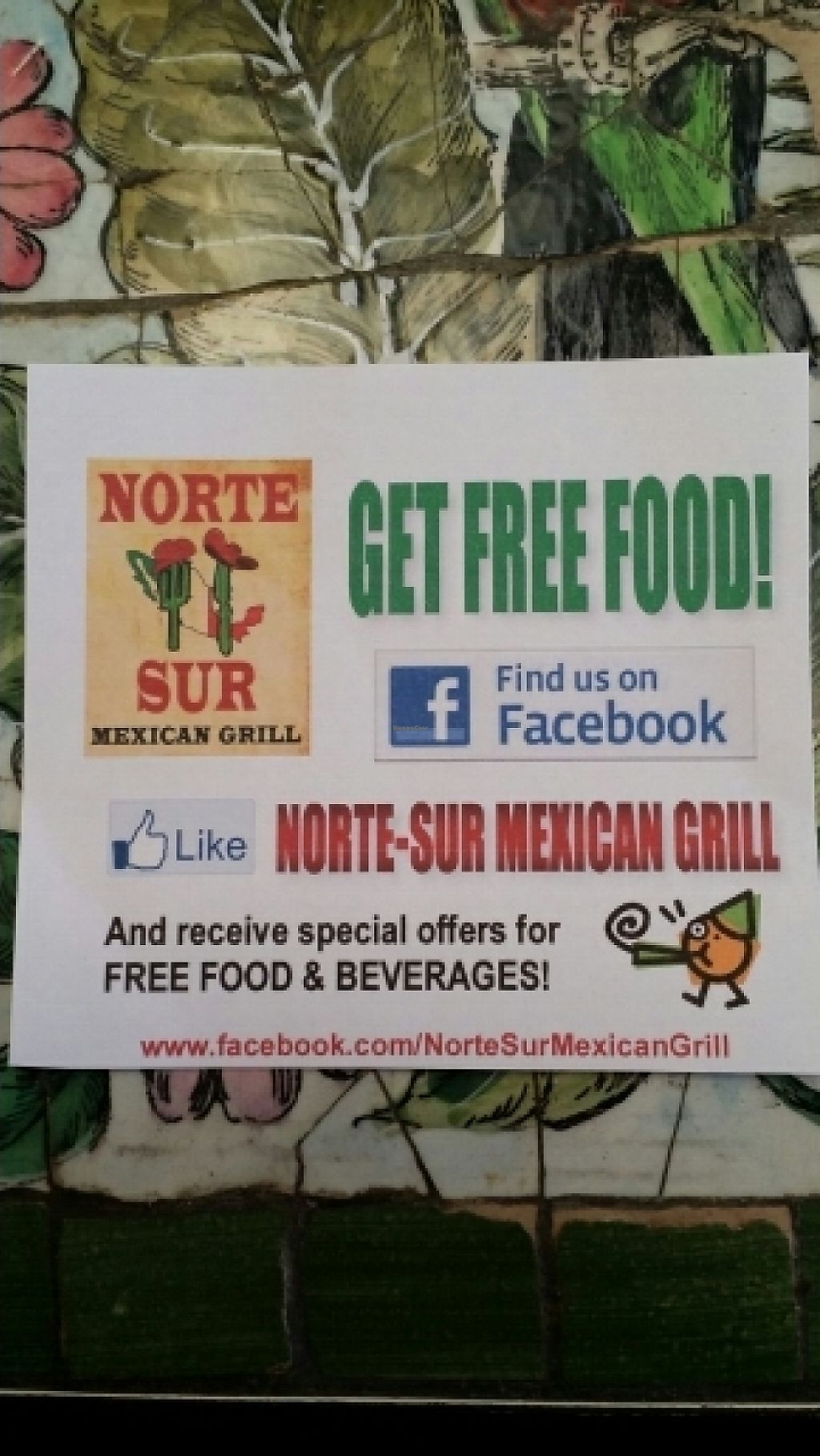 """Photo of Norte Sur  by <a href=""""/members/profile/catbone"""">catbone</a> <br/>Facebook 'Free Food' Offer <br/> January 20, 2016  - <a href='/contact/abuse/image/53445/188967'>Report</a>"""