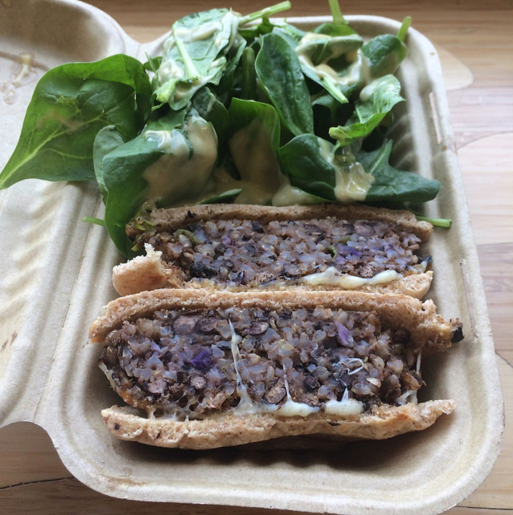 """Photo of MOM's Organic Market Cafe  by <a href=""""/members/profile/DNice88"""">DNice88</a> <br/>black bean burger  <br/> November 29, 2016  - <a href='/contact/abuse/image/53510/195494'>Report</a>"""