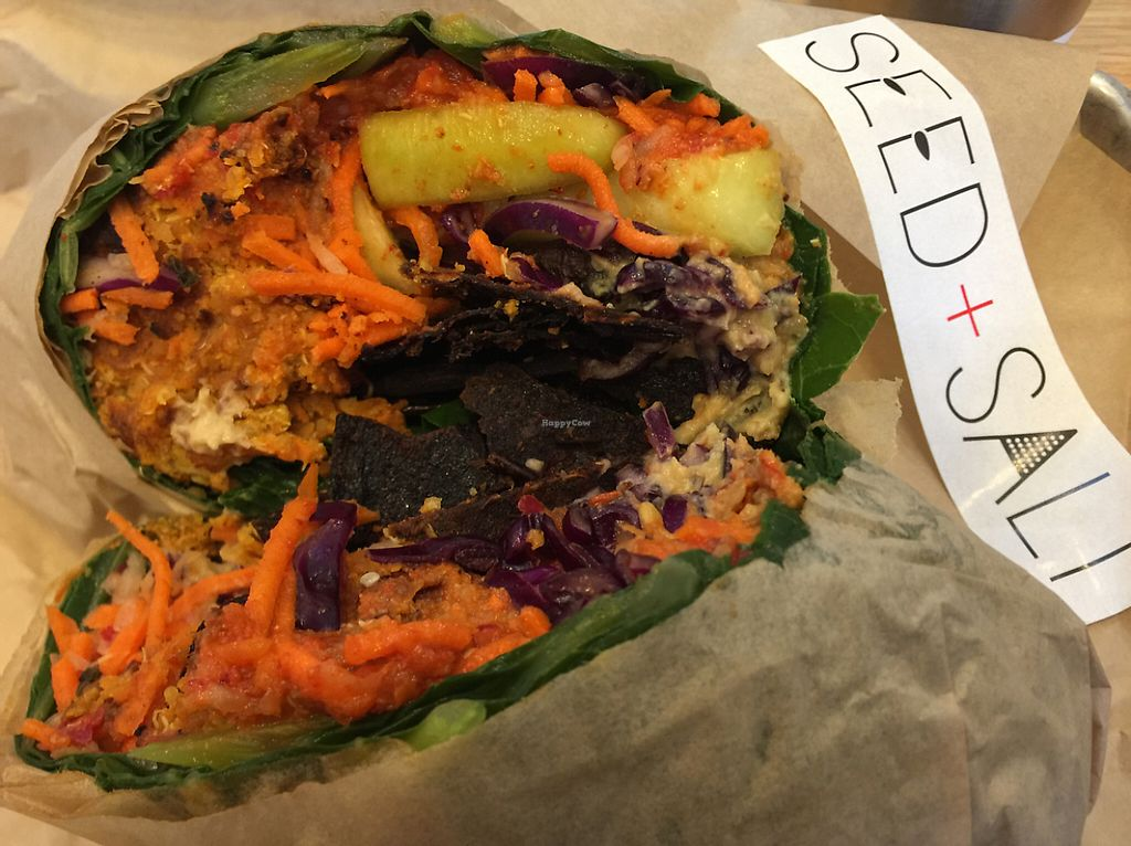 "Photo of CLOSED: Seed + Salt  by <a href=""/members/profile/szcondon1"">szcondon1</a> <br/>falafel collars wrap with eggplant bacon add-on <br/> June 7, 2017  - <a href='/contact/abuse/image/53518/266565'>Report</a>"