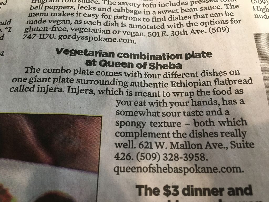 """Photo of Gordy's Sichuan Cafe  by <a href=""""/members/profile/AlanDavis"""">AlanDavis</a> <br/>vegetarian combination plate @ Queen of Sheba  <br/> September 27, 2017  - <a href='/contact/abuse/image/5351/309200'>Report</a>"""