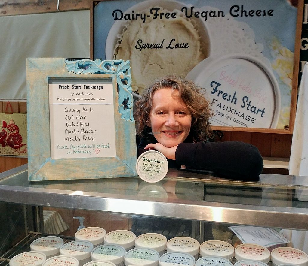 """Photo of Charlottetown Farmers Market  by <a href=""""/members/profile/JulainMolnar"""">JulainMolnar</a> <br/>Fresh Start Fauxmage- fantastic, dairy-free vegan cheeze made in Charlottetown by Julain Molnar. A local favourite. Atisanal, nut-based, local, delicious!  <br/> April 8, 2018  - <a href='/contact/abuse/image/53562/382658'>Report</a>"""