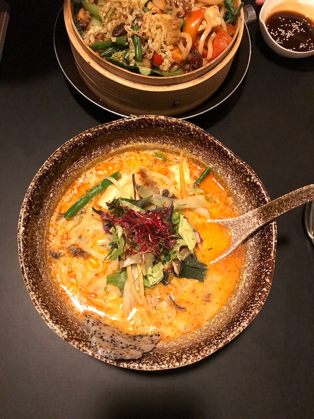 "Photo of Cat Tuong  by <a href=""/members/profile/paz%26ash"">paz&ash</a> <br/>vegan coconut curry soup with tofu and veggies (back is udon noodle stir fry) <br/> August 20, 2017  - <a href='/contact/abuse/image/53569/294794'>Report</a>"