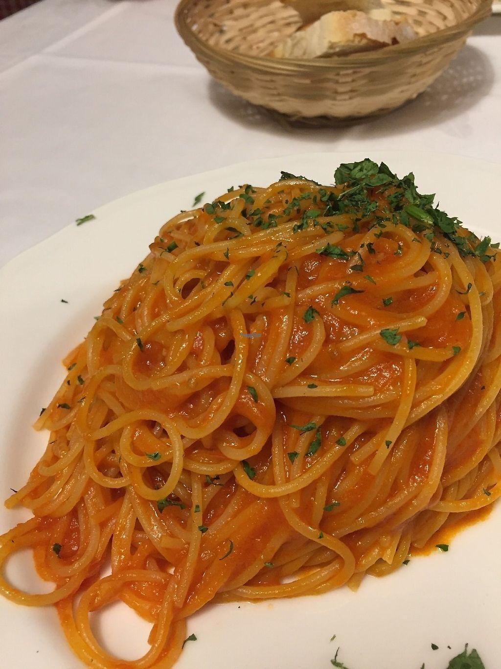 """Photo of Trattoria Enzo e Piero  by <a href=""""/members/profile/VeganPrairieGirl"""">VeganPrairieGirl</a> <br/>Spaghetti with spicy tomato sauce  <br/> March 22, 2017  - <a href='/contact/abuse/image/53571/239598'>Report</a>"""