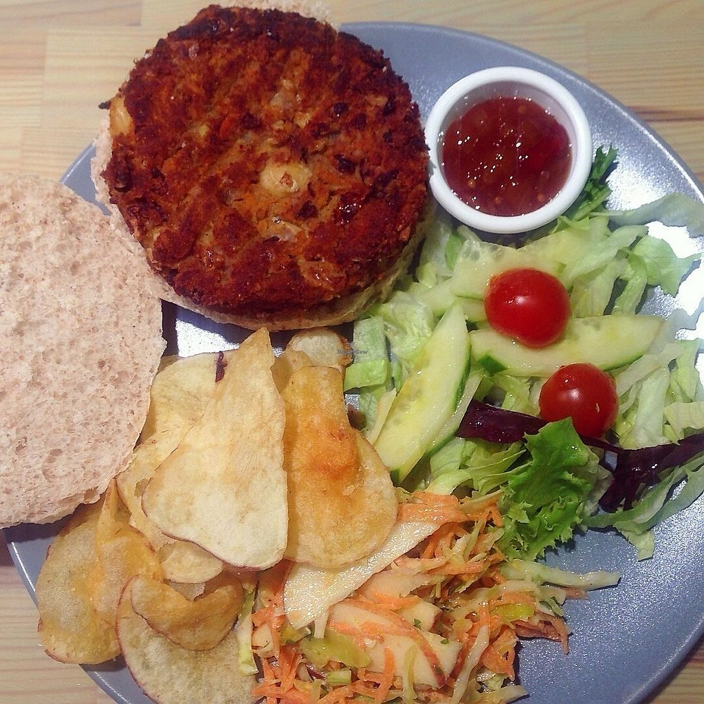 """Photo of Roots Vegetarian Cafe  by <a href=""""/members/profile/findingfay"""">findingfay</a> <br/>Vegan bean burger with chutney, salad, coleslaw and crisps <br/> October 1, 2017  - <a href='/contact/abuse/image/53616/310492'>Report</a>"""