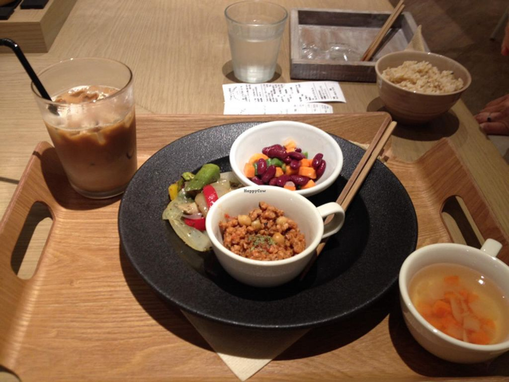 "Photo of Cosme Kitchen Cafe  by <a href=""/members/profile/MonicaPancake"">MonicaPancake</a> <br/>vegan dinner course with iced soy latte <br/> July 18, 2015  - <a href='/contact/abuse/image/53627/109851'>Report</a>"