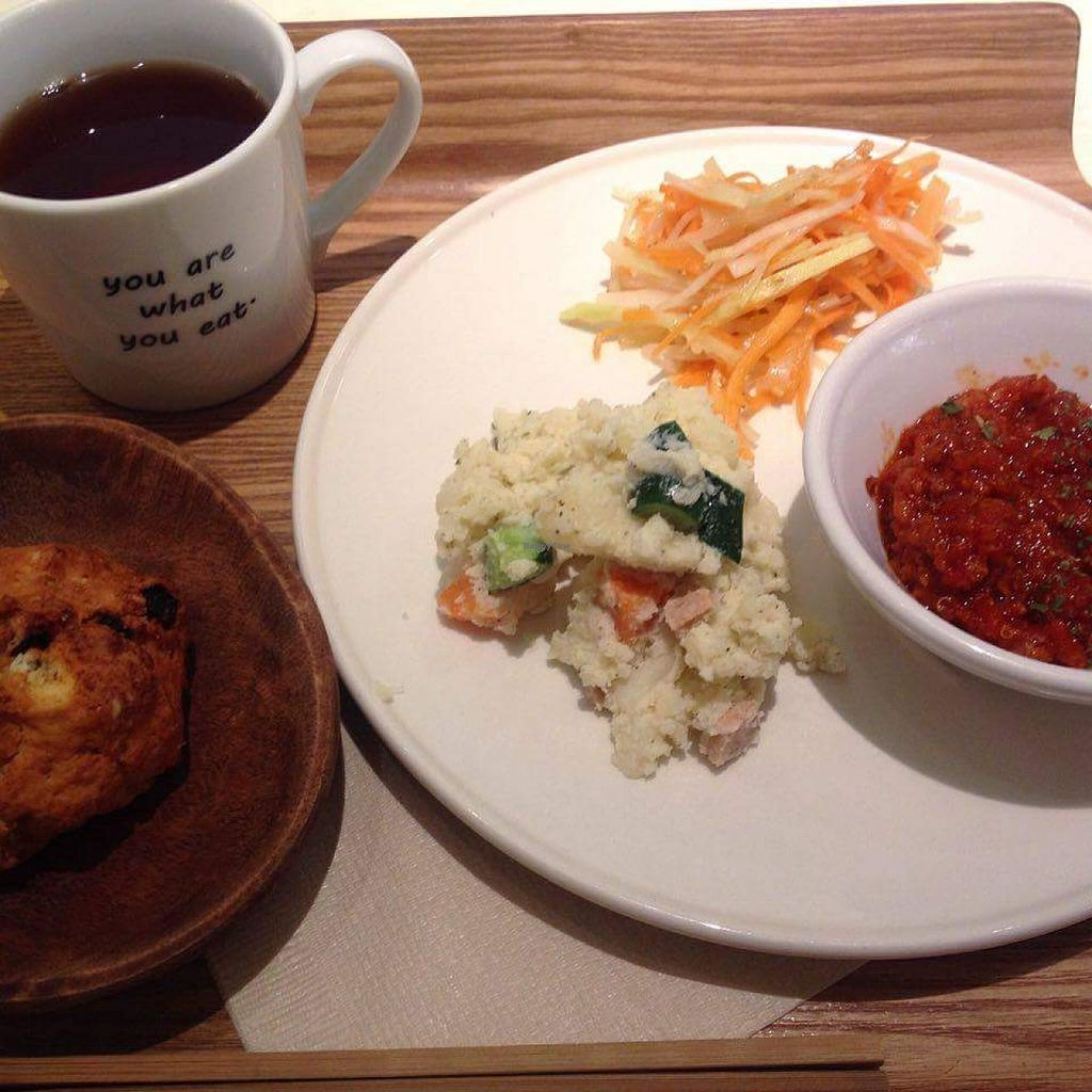 "Photo of Cosme Kitchen Cafe  by <a href=""/members/profile/ellaolea"">ellaolea</a> <br/>Deli lunch set with chili sin carne, potato salad, Japanese carrot salad, raisin scone and tea. 1188 yen including tax <br/> March 23, 2016  - <a href='/contact/abuse/image/53627/141112'>Report</a>"