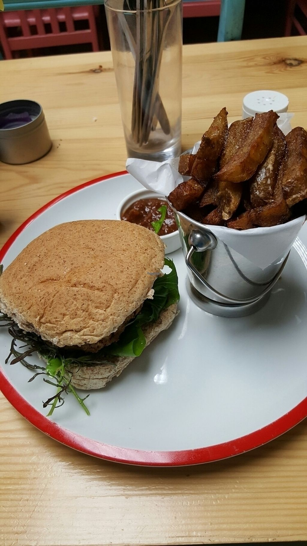 """Photo of Crimson Rhino  by <a href=""""/members/profile/Clare"""">Clare</a> <br/>Tofu burger and fries <br/> April 29, 2017  - <a href='/contact/abuse/image/53634/253800'>Report</a>"""