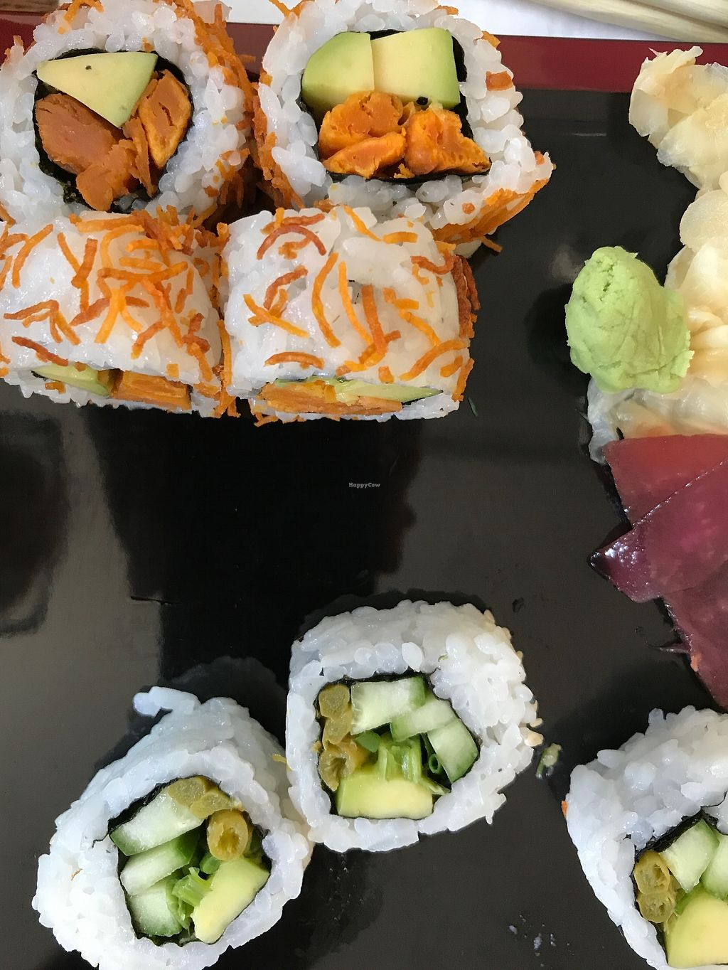 """Photo of The Green Roll  by <a href=""""/members/profile/Brok%20O.%20Lee"""">Brok O. Lee</a> <br/>Vegan Shingo and Crispy Sweet Potato rolls <br/> August 27, 2017  - <a href='/contact/abuse/image/53638/297807'>Report</a>"""