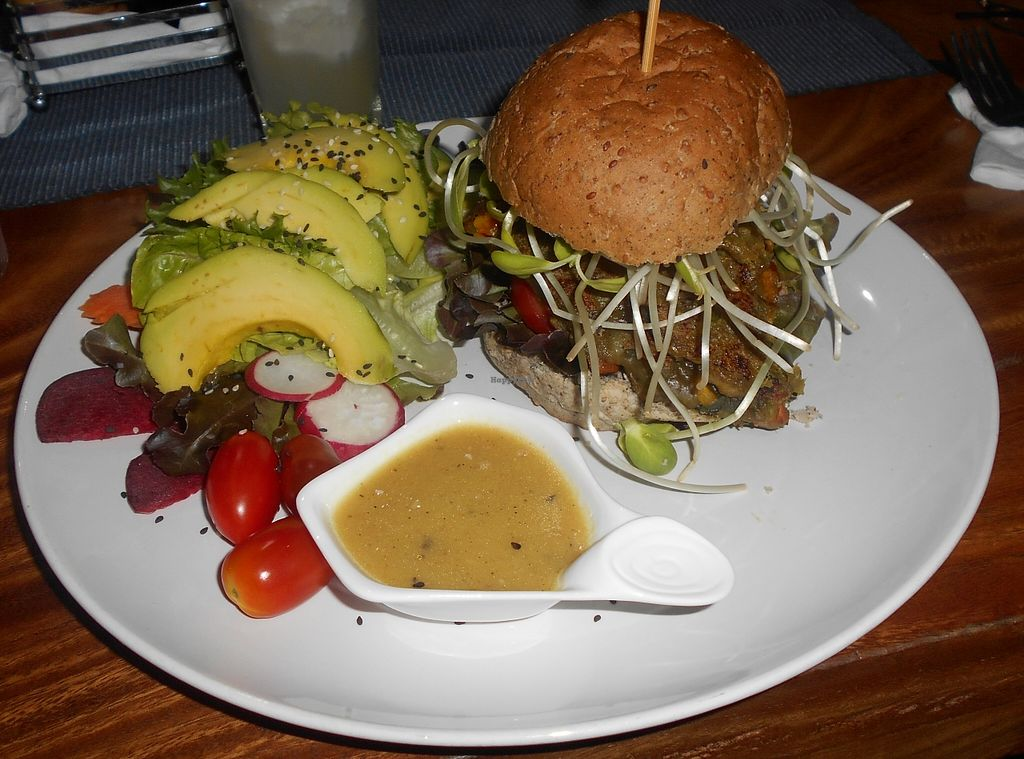 """Photo of Bubbles Live  by <a href=""""/members/profile/Kelly%20Kelly"""">Kelly Kelly</a> <br/>Bubbles Live > almost inedible Veggie Burger with yummy Avocado Salad <br/> April 12, 2016  - <a href='/contact/abuse/image/53652/144194'>Report</a>"""