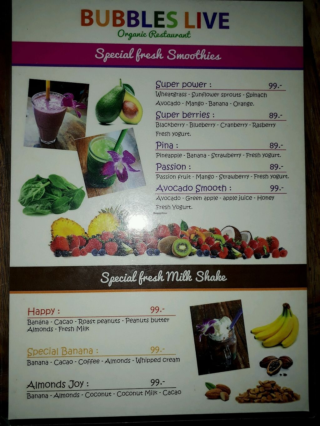 """Photo of Bubbles Live  by <a href=""""/members/profile/LilacHippy"""">LilacHippy</a> <br/>Smoothies Menu <br/> February 2, 2018  - <a href='/contact/abuse/image/53652/353844'>Report</a>"""
