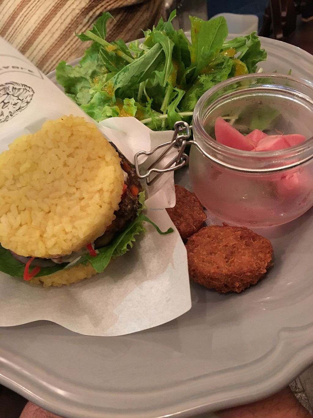 "Photo of Organic Table by Lapaz  by <a href=""/members/profile/paulkates"">paulkates</a> <br/>falafel burger with turmeric rice buns <br/> July 21, 2017  - <a href='/contact/abuse/image/53680/282816'>Report</a>"