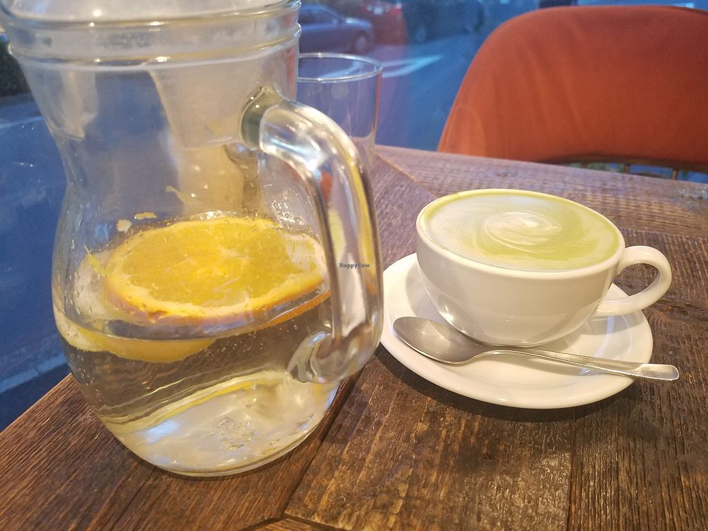 "Photo of Organic Table by Lapaz  by <a href=""/members/profile/ReiAmber"">ReiAmber</a> <br/>matcha soy latte and fruit infused water <br/> February 18, 2018  - <a href='/contact/abuse/image/53680/360702'>Report</a>"