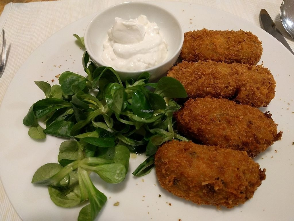 """Photo of El Vergel Veggie Restaurant  by <a href=""""/members/profile/steveveg"""">steveveg</a> <br/>Croquettes of mushrooms and smoked vegan cheese <br/> January 23, 2017  - <a href='/contact/abuse/image/53682/215445'>Report</a>"""