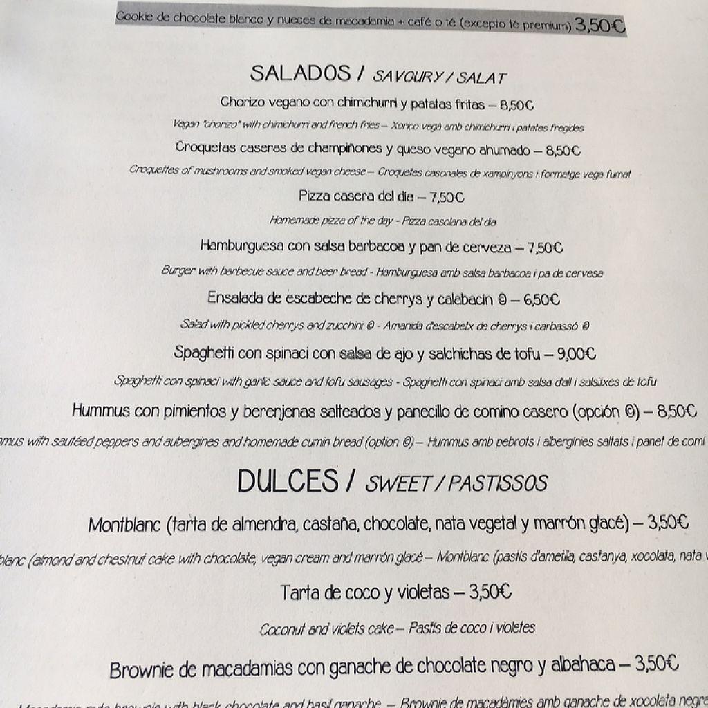 "Photo of El Vergel Veggie Restaurant  by <a href=""/members/profile/missanj"">missanj</a> <br/>menu <br/> April 17, 2017  - <a href='/contact/abuse/image/53682/249461'>Report</a>"