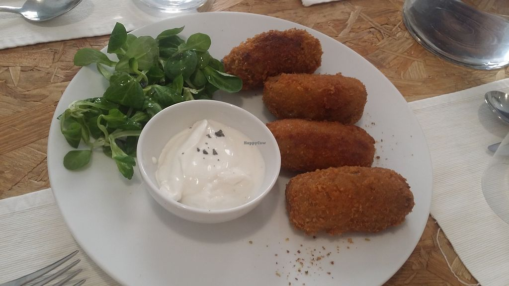 """Photo of El Vergel Veggie Restaurant  by <a href=""""/members/profile/mireia90"""">mireia90</a> <br/>Mushroom adns vegan cheese croquet! It was just delicious! Big size and awesome flavour <br/> November 4, 2017  - <a href='/contact/abuse/image/53682/321700'>Report</a>"""