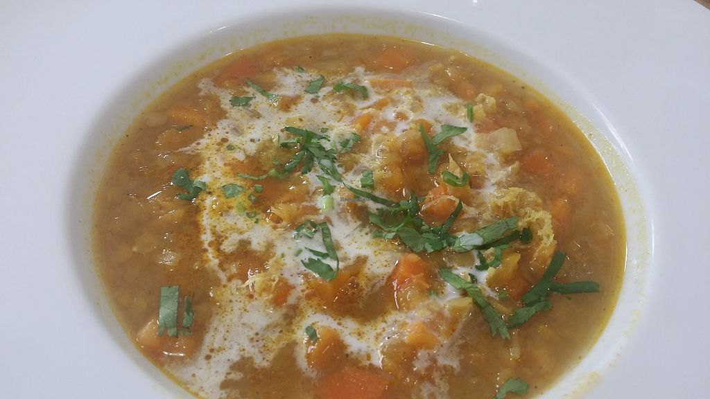 """Photo of El Vergel Veggie Restaurant  by <a href=""""/members/profile/mireia90"""">mireia90</a> <br/>Red lentil Dhal with apricot My friend did not like that much the spicies of the soup, but I did love it! :) i am an indian food fan tho <br/> November 4, 2017  - <a href='/contact/abuse/image/53682/321705'>Report</a>"""