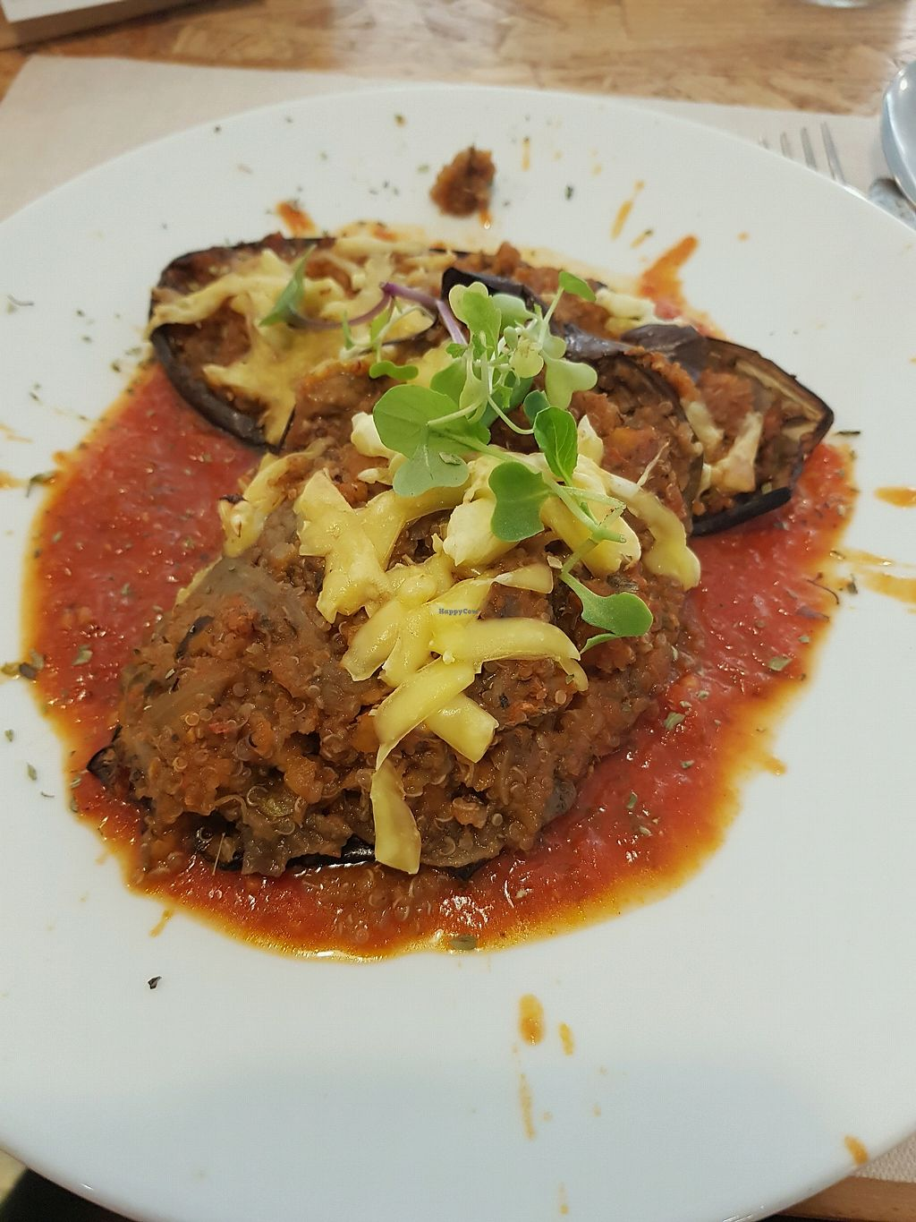 """Photo of El Vergel Veggie Restaurant  by <a href=""""/members/profile/mililili"""">mililili</a> <br/>Stuffed aubergine with quiona bolognese <br/> April 24, 2018  - <a href='/contact/abuse/image/53682/390475'>Report</a>"""