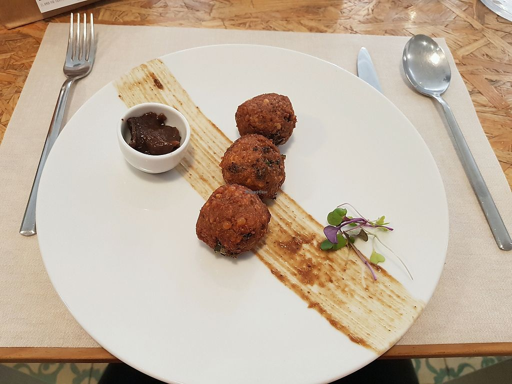 """Photo of El Vergel Veggie Restaurant  by <a href=""""/members/profile/mililili"""">mililili</a> <br/>Indian red lentil and kale fritters with tamarind chutney <br/> April 24, 2018  - <a href='/contact/abuse/image/53682/390477'>Report</a>"""