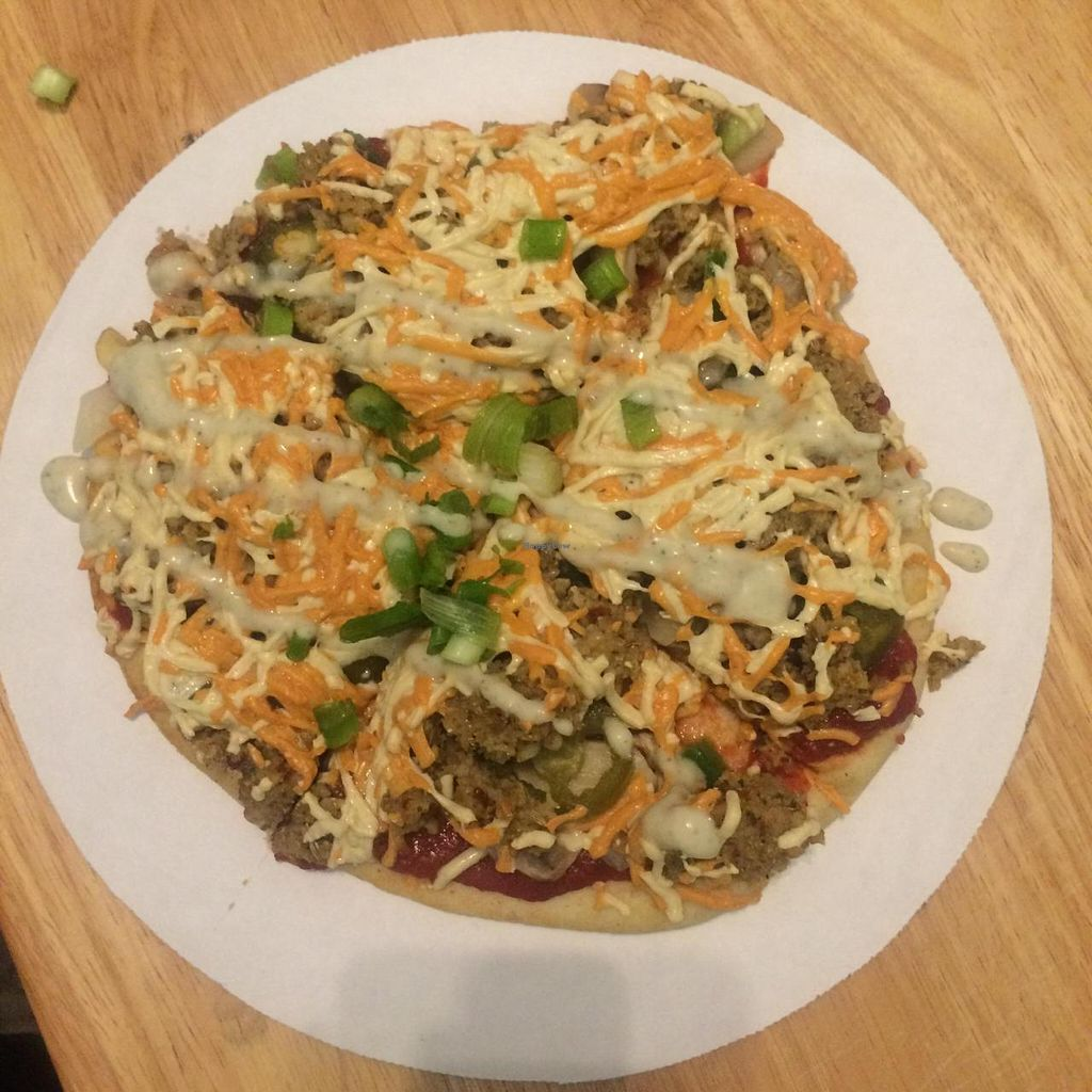 """Photo of Jikoni Cafe at The House of Consciousness  by <a href=""""/members/profile/theangrycock"""">theangrycock</a> <br/>Vegan pizza is the bomb dot com <br/> December 28, 2014  - <a href='/contact/abuse/image/53692/88877'>Report</a>"""