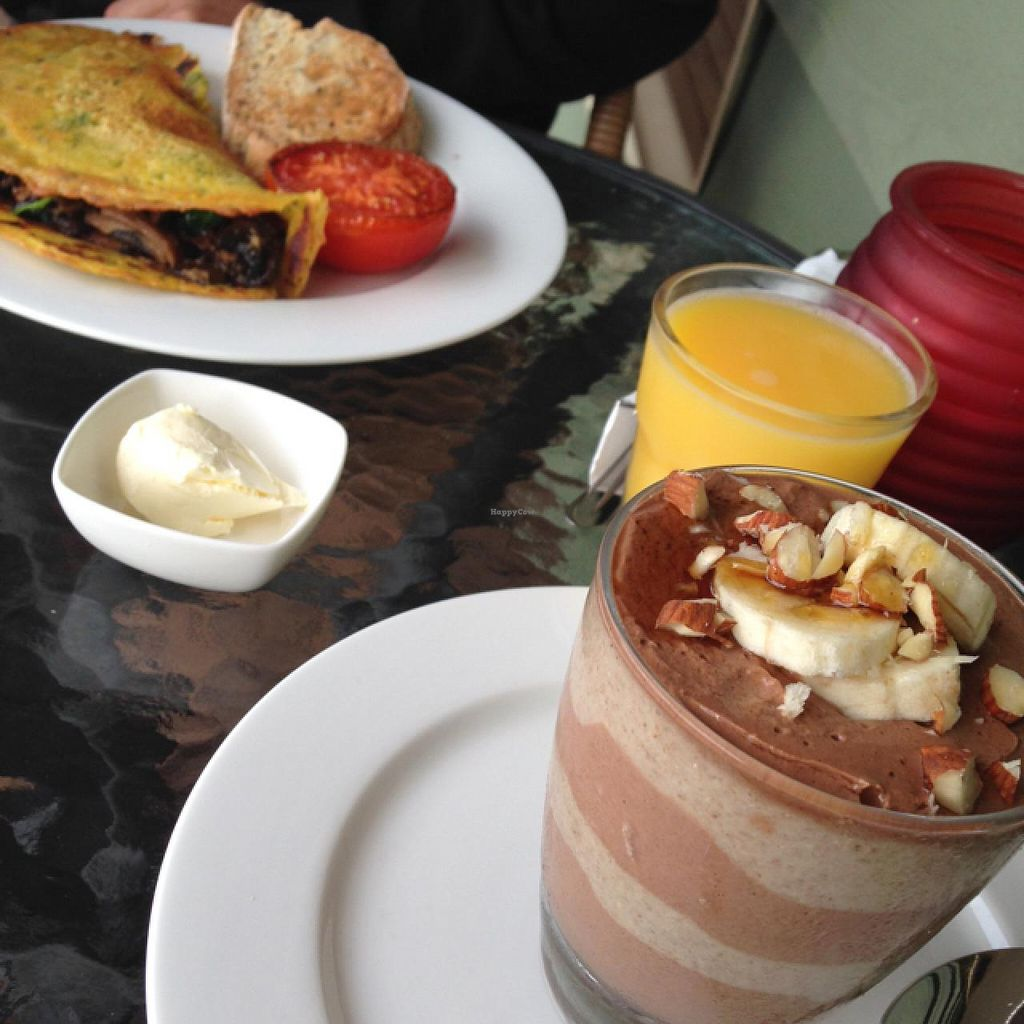 """Photo of Forest Haven Bed and Breakfast  by <a href=""""/members/profile/Kittybiscuit"""">Kittybiscuit</a> <br/>breakfast. savoury pancake and chocolate and banana chia pudding <br/> March 9, 2015  - <a href='/contact/abuse/image/53704/95261'>Report</a>"""