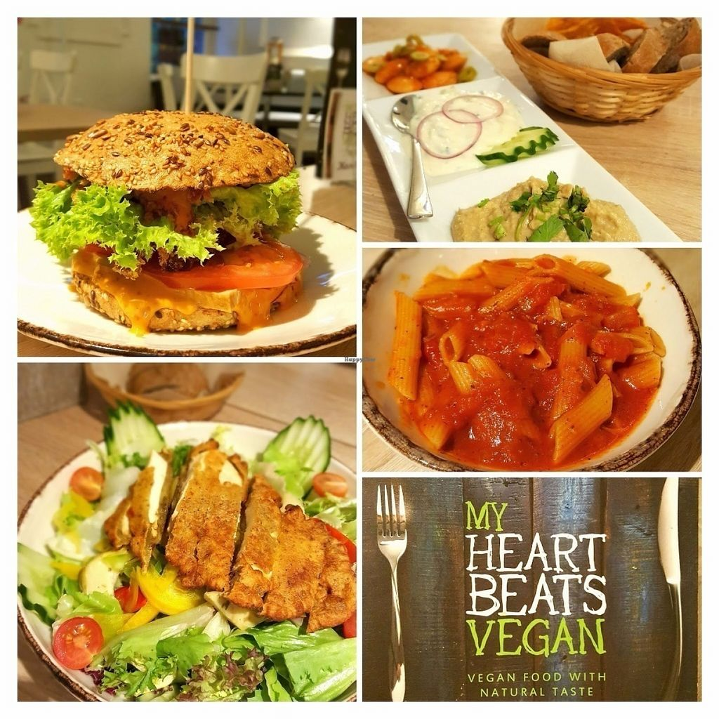 """Photo of My Heart Beats Vegan  by <a href=""""/members/profile/NeleLiivlaid"""">NeleLiivlaid</a> <br/>Veggie burger, huge salad with tofu, spelt pasta with tomato sauce, hummus <br/> July 15, 2016  - <a href='/contact/abuse/image/53725/160038'>Report</a>"""
