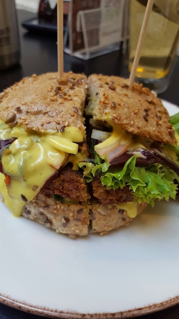 """Photo of My Heart Beats Vegan  by <a href=""""/members/profile/VeganScientist"""">VeganScientist</a> <br/>curry and beets burger <br/> September 8, 2016  - <a href='/contact/abuse/image/53725/174316'>Report</a>"""