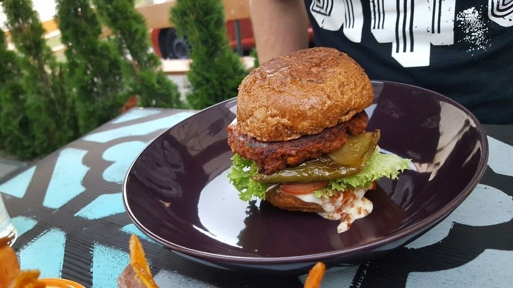 """Photo of My Heart Beats Vegan  by <a href=""""/members/profile/VeganScientist"""">VeganScientist</a> <br/>texas crispy soy patty burger <br/> September 8, 2016  - <a href='/contact/abuse/image/53725/174317'>Report</a>"""